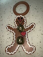 Vtg Gingerbread Door Hanger W/Bells. Made In Lancaster Pa