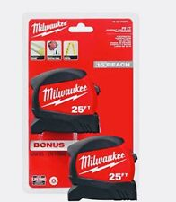 2PACK Milwaukee 25 ft Wide Blade Tape Measure Anti Tear Lanyard 15ft Reach NEW.