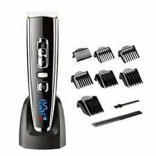 Hatteker Hair Clipper Set Combs LED Rechargeable Trimmer Cordless Cutter Wet Dry