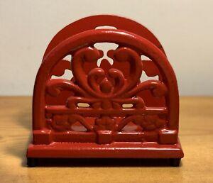 RED FLEUR DE LIS CAST IRON NAPKIN HOLDER~Rubber Ft~ Farmhouse KitchenTable Decor