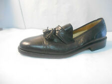 Pronto Uomo Black Leather Cap Toe Tassel Loafers Men's Size 9.5 M