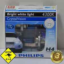 A Pair of Genuine Philips H4 12V 4300K 60W/55W Hi/Lo Beam Crystal Vision Bulbs