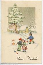 Bambini con Uccellini Natale Paesaggio di Neve Children Xmas PC Circa 1930
