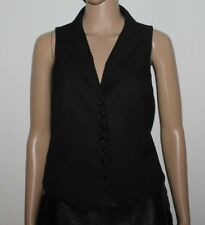 Black Stripped Fabric H & M Button Fitted Waitress Vest Waistcoat Size 12 / 40