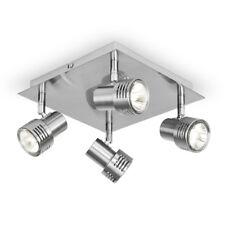 Modern Square Brushed Chrome GU10 Kitchen Ceiling Light Fitting Spotlight Lights