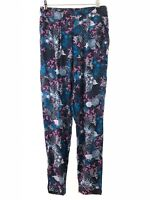 MONSOON navy blue pretty oriental florla tapered leg harem trousers size 8 eu 36