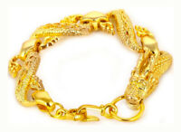 18k Yellow Gold Dragon Mens Womens Bracelet 10mm Width Link Chain wGiftPkg D215