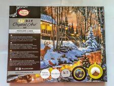 Craft Buddy Christmas LED Crystal Art Kit on Canvas Highland Cabin 40x50cms