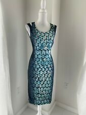Karen Millen Blue Bubble Print Sleeveless Stretch Sheath Dress SZ UK 10 US XS S