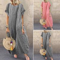 UK Women Check Plaid Long Dress Ladies Summer Beach Maxi Dresses Kaftan Tunic