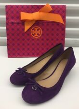 $250 New Tory Burch Chelsea Wedge Heels Purple Suede leather bow Sz 9 M