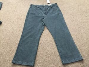 M&s Limited Edition Black Denim Cropped Flare Jeans Size 12 Bnwt Free Sameday Pp