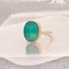 Green Onyx Stone Rose Gold Plated Ring Faceted Cut Oval Shape Fashion Jewelry