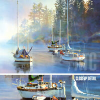 """40W""""x30H"""" SERENITY by KIFF HOLLAND - SAILBOATS FISHING SERENE SEASCAPE CANVAS"""