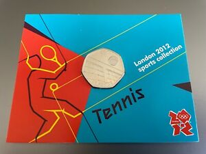 TENNIS ROYAL MINT DISPLAY CARD 2012 OLYMPICS WITH 50p COIN MINT RARE