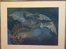 Hans Erni Man In Flight Aviation Poster Icarus ICAO 40th Anniv 1944 1984 Framed