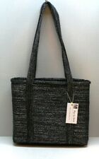 Women's Handbag Business Tote Zippered Top 7 Pockets Footed Black Sparkles NEW