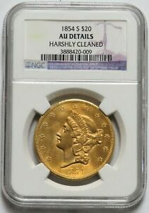 1854 S GOLD $20 LIBERTY SALVAGE SS YANKIE BLADE COIN NGC AU*