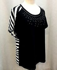 CHICOS ZENERGY 2 Top Cap Slvs Solid Front with Bling Striped Back Black White 44