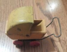 VINTAGE BABY DOLLHOUSE CARRIAGE BUGGY TOY METAL WOODEN STROLLER