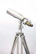 1920' Century Nautical Naval Brass Victorian Binoculars in Chrome/Nickle Tripod