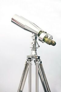 1920' Century Nautical Naval Brass Victorian Binoculars in Chrome/Nickle Tripod