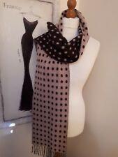 0e4e640c3fb1 BNWOT DON ALGODON 100% LAMBSWOOL REVERSIBLE PINK BROWN SPOTTY SCARF- XMAS!