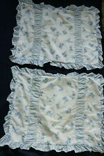 Rare Laura Ashley Pair Standard Shams Ruffle Blue Roses Floral Country