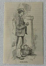 1878 small magazine engraving ~ Man Selling Japanese Spitz Pups in Nyc