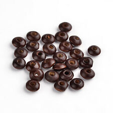 100pcs Big Sale Brown Wood Beads Flat Round Dyed Lead Free Beading Jewelry 8x4mm