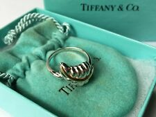 1990 Tiffany & Co. Sterling Silver & 18K Gold Feather Ring 3.8g Size 6.5 USA