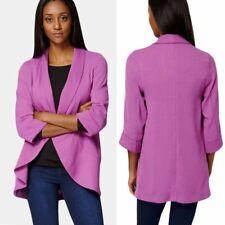 New Ladies Purple Blazer Womens Light Jacket Textured Coat Autumn Cover Up