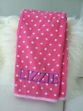 "Pottery Barn Teen Dottie Bath Towel Pink Magenta Embroidered ""Lizzie"""