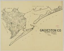 A4 Reprint of American Cities Towns States Map Galveston County Texas