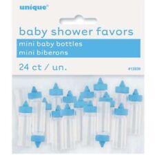 "24 x 1"" Blue Plastic Mini Bottles Baby Shower Favours Gender Reveal Party Boys"