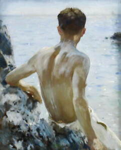 Henry Scott Tuke Beach Study Poster Reproduction Paintings Giclee Canvas Print