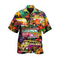 Herren Sommer Geknöpftes Funky Hawaiihemd Kurzarm Hawaiian Shirt Beach Freizeit