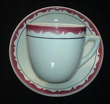DUDSON GRINDLEY HOTELWARE DURALINE White/Deep Pink/Cherry? Cup+Saucer Set c1975