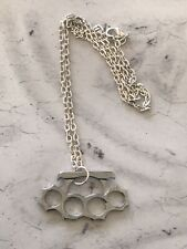 """Silver Mini Knuckle Duster Necklace 18"""" Chain Kitch Punk Biker Metal Goth Emo"""