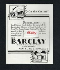 THE BARCLAY HOTEL NEW YORK 111 EAST 48TH ST MEET THE CENTURY TRAIN 1931 AD