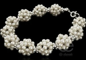 BEAUTIFUL BRACELET GENUINE NATURAL WHITE PEARLS STERLING SILVER 925