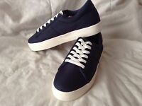 pull and bear trainers navy canvas pumps - plimsoles size 4-5 new with tags