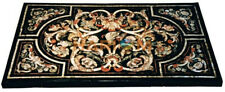 3'x2' Black Marble Side Dining Table Top Pietra Dura Inlay Occasional Decor B593