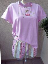 RINGELLA Schlafanzug kurz Gr.38/40 M rosa Breakfast T-Shirt Short Shorty Pyjama