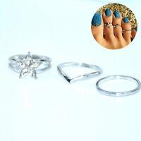 3pcs/set Retro Bohemia Foot Rings Female Carved Flower Toe Rings Beach Jewelry
