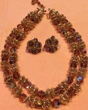 Charming Vint Sparkling Aurora Crystal Double String Neckles Earrings Set Gold*