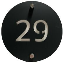 29 House Number Sign Plaque Perspex Plastic Grey White Round Modern Screws New