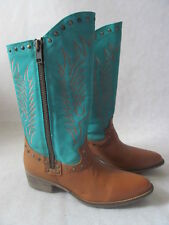 DIEGO DI LUCCA TUMBLE LEATHER EMBROIDERED WESTERN BOOTS SIZE 10 - NEW