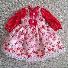 Blythe Doll / 1/6 Bjd Red Flower Dress