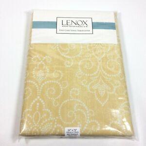 Lenox Vinyl Tablecloth Yellow White Rectangle 52x70 Seats 4-6